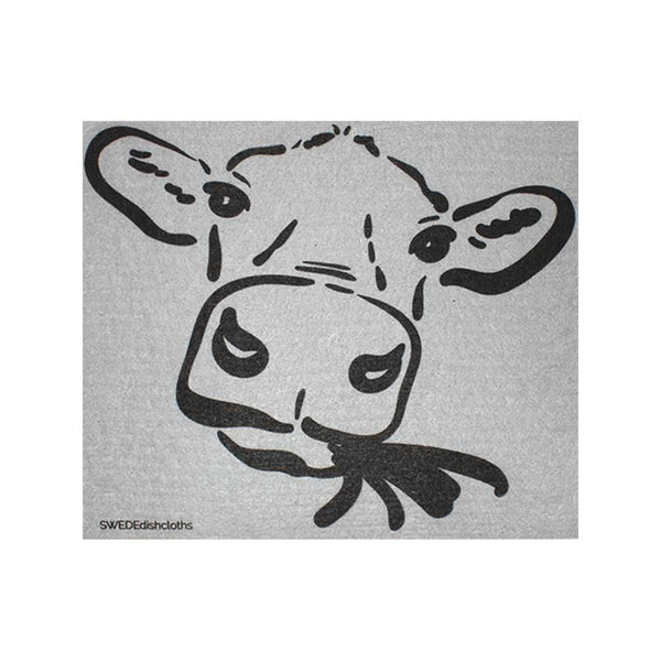 "Swedish Dishcloths ""Cow Silhouette on Gray"" One Dishcloth 