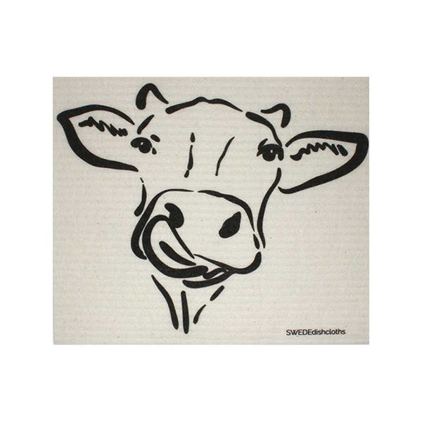 "Swedish Dishcloths ""Cow Silhouette on Natural"" One Dishcloth 