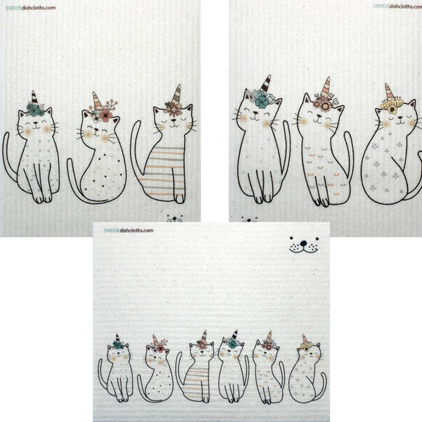 Mixed Caticorn Set of 3 cloths (One of each design) Swedish Dishcloths ECO  Absorbent Cleaning Cloth
