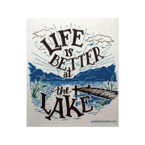 "Swedish Dishcloths ""Life is Better at the Lake"" One Dishcloth 