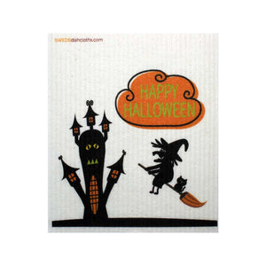 Halloween Witch On Broom One cloth Swedish Dishcloths | ECO Friendly Absorbent Cleaning Cloth