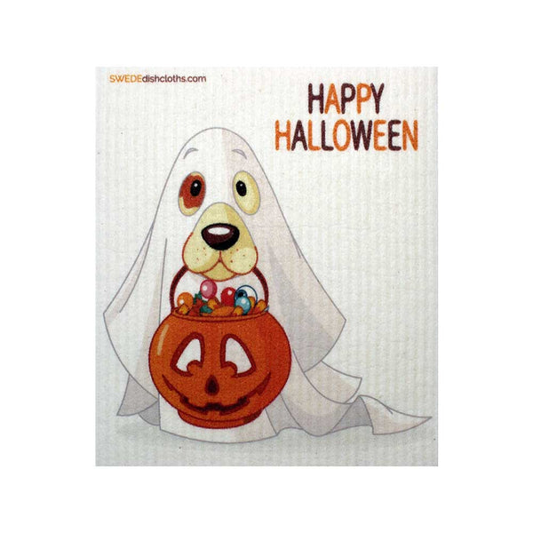 Halloween Ghost Dog One cloth Swedish Dishcloths | ECO Friendly Absorbent Cleaning Cloth