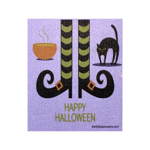 Halloween Witch Feet One cloth Swedish Dishcloths | ECO Friendly Absorbent Cleaning Cloth