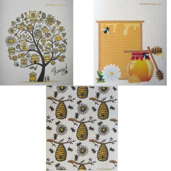 Bees/Honey Set of 3 Swedish Dishcloths (One of each design) | ECO Friendly | Reusable Cleaning Spongecloth