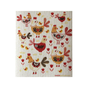 Chickens! One Each Swedish Dishcloth | Eco Friendly Absorbent Cleaning Cloth | Reusable Cleaning Wipes - 1
