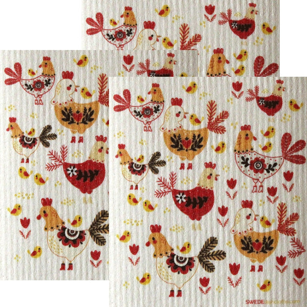 Chickens! Set Of 3 Each Swedish Dishcloths | Eco Friendly Absorbent Cleaning Cloth | Reusable Cleaning Wipes - 3