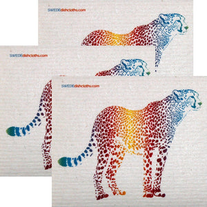 Colorful Cheetah Set of 3 each Swedish Dishcloths