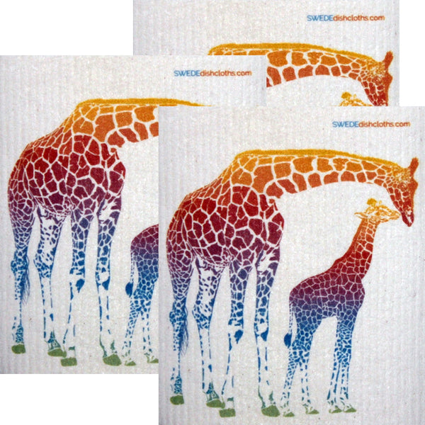 Colorful Giraffe Set of 3 each Swedish Dishcloths