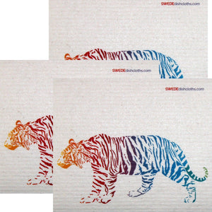 Colorful Tiger Set of 3 each Swedish Dishcloths