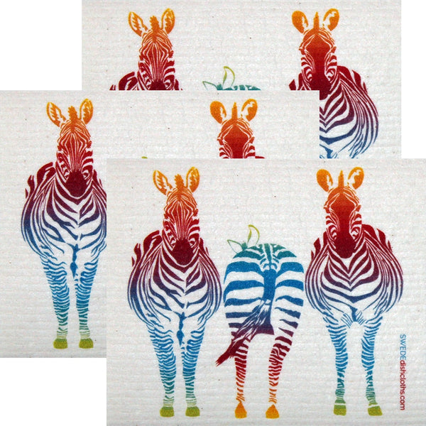 Colorful Zebra Set Of 3 Each Swedish Dishcloths - 3
