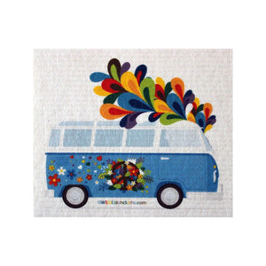 Flower Power Bus One Each Swedish Dishcloth | Eco Friendly Absorbent Cleaning Cloth | Reusable Cleaning Wipes - 1
