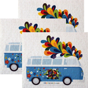 Flower Power Bus Set Of 3 Each Swedish Dishcloths | Eco Friendly Absorbent Cleaning Cloth | Reusable Cleaning Wipes - 3