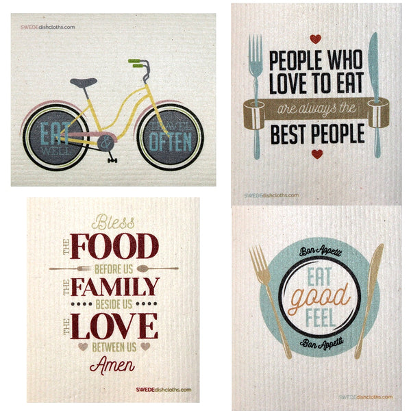 Food Sayings Set Of 4 Each Swedish Dishcloths | Eco Friendly Absorbent Cleaning Cloth | Reusable Cleaning Wipes - 4