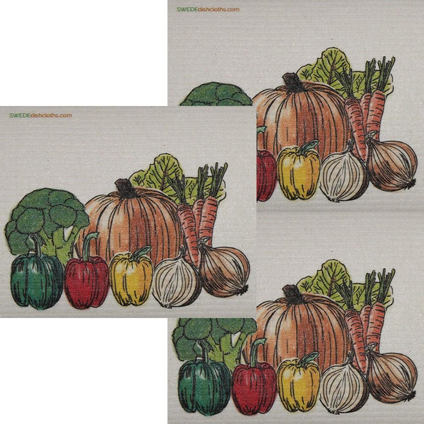 Fresh Vegetables Set Of 3 Each Swedish Dishcloths | Eco Friendly Absorbent Cleaning Cloth | Reusable Cleaning Wipes - 3