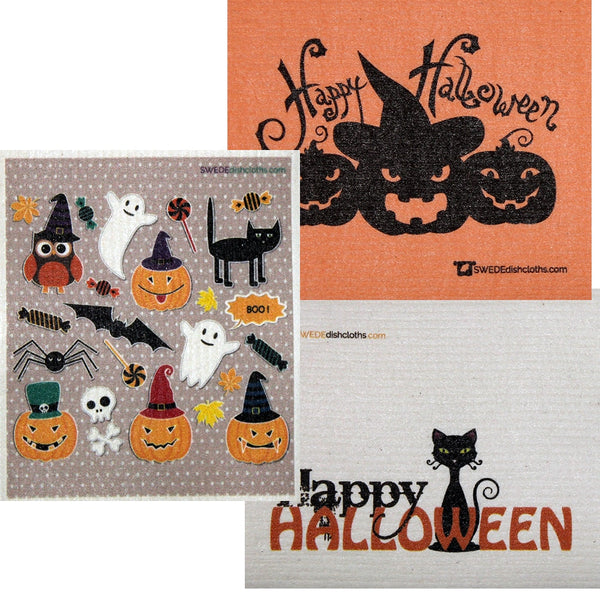 Halloween Trio Set Of 3 Each Swedish Dishcloths | Eco Friendly Absorbent Cleaning Cloth | Reusable Cleaning Wipes - 3
