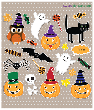 Halloween Collage One cloth Swedish Dishcloths | ECO Friendly Absorbent Cleaning Cloth