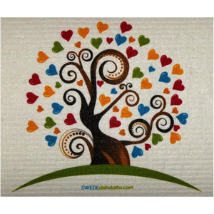 Heart Tree One Each Swedish Dishcloth | Eco Friendly Absorbent Cleaning Cloth | Reusable Cleaning Wipes - 1