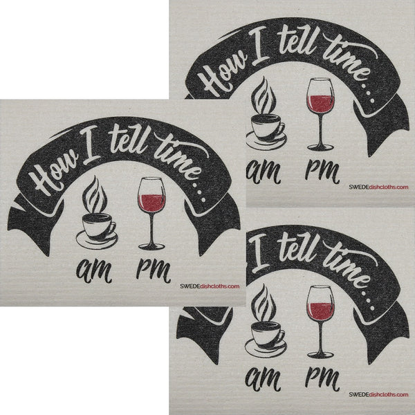 How I Tell Time Wine Set Of 3 Each Swedish Dishcloths | Eco Friendly Absorbent Cleaning Cloth | Reusable Cleaning Wipes - 3