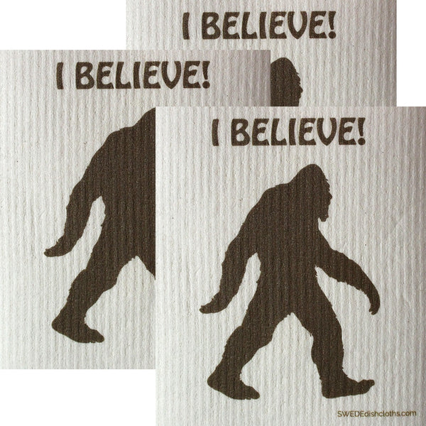 I Believe Bigfoot Set Of 3 Each Swedish Dishcloths | Eco Friendly Absorbent Cleaning Cloth | Reusable Cleaning Wipes - 3