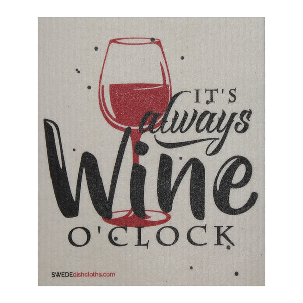 Its Always Wine Oclock One Each Swedish Dishcloth | Eco Friendly Absorbent Cleaning Cloth | Reusable Cleaning Wipes - 1