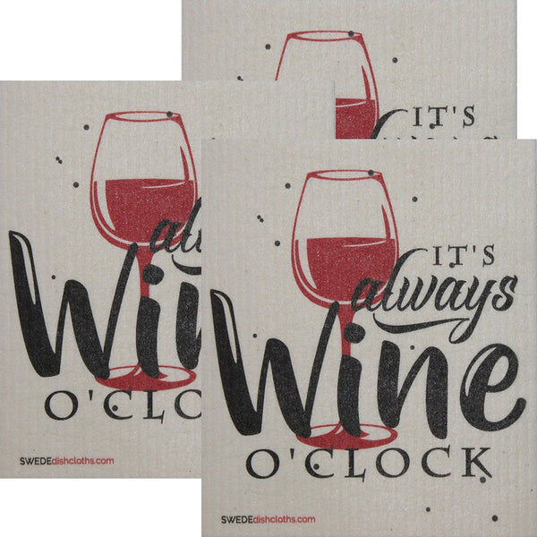 Its Always Wine O'clock Set of 3 each Swedish Dishcloths | ECO Friendly Absorbent Cleaning Cloth | Reusable Cleaning Wipes