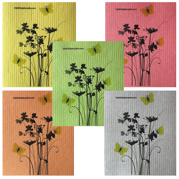 Meadow Flowers (Various Colors) Set Of 5 Each Swedish Dishcloths | Eco Friendly Absorbent Cleaning Cloth | Reusable Cleaning Wipes - 5