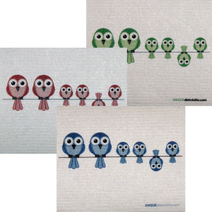 Mixed Birds On Wire Set Of 3 Each Swedish Dishcloths | Eco Friendly Absorbent Cleaning Cloth | Reusable Cleaning Wipes - 3