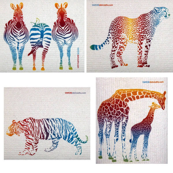 Mixed Colorful Animals Set Of 4 Each Swedish Dishcloths - 4