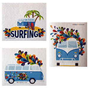 Mixed Hippie Bus Set Of 3 Each Swedish Dishcloths | Eco Friendly Absorbent Cleaning Cloth | Reusable Cleaning Wipes - 3