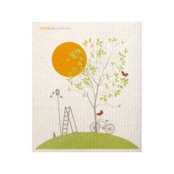 One Swedish Dishcloth Tree And Bike Design - 1