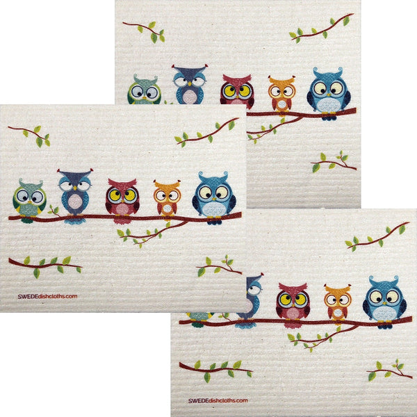 Owl Friends Set Of 3 Each Swedish Dishcloths | Eco Friendly Absorbent Cleaning Cloth | Reusable Cleaning Wipes - 3