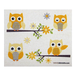 Owls In Branches One Each Swedish Dishcloth | Eco Friendly Absorbent Cleaning Cloth | Reusable Cleaning Wipes - 1