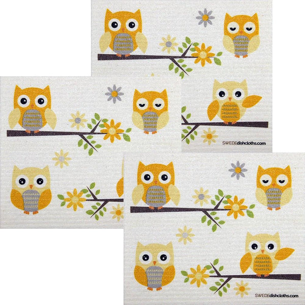 Owls In Branches Set Of 3 Each Swedish Dishcloths | Eco Friendly Absorbent Cleaning Cloth | Reusable Cleaning Wipes - 3