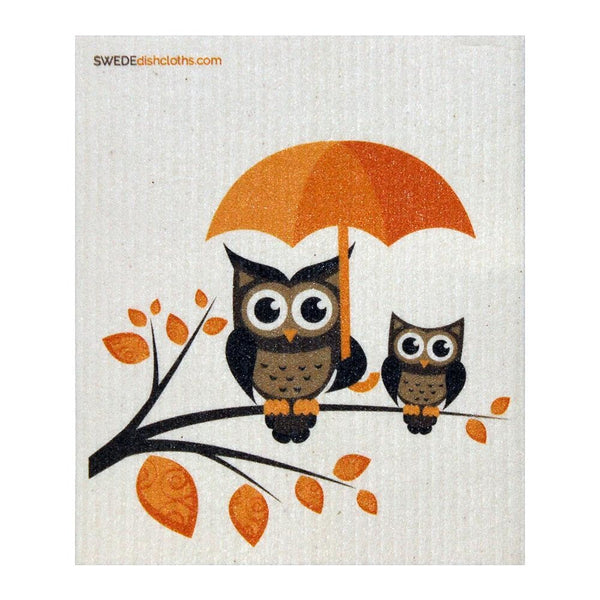 Owls With Umbrella One Each Swedish Dishcloth | Eco Friendly Absorbent Cleaning Cloth | Reusable Cleaning Wipes - 1