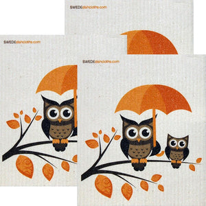 Owls With Umbrella Set Of 3 Each Swedish Dishcloths | Eco Friendly Absorbent Cleaning Cloth | Reusable Cleaning Wipes - 3