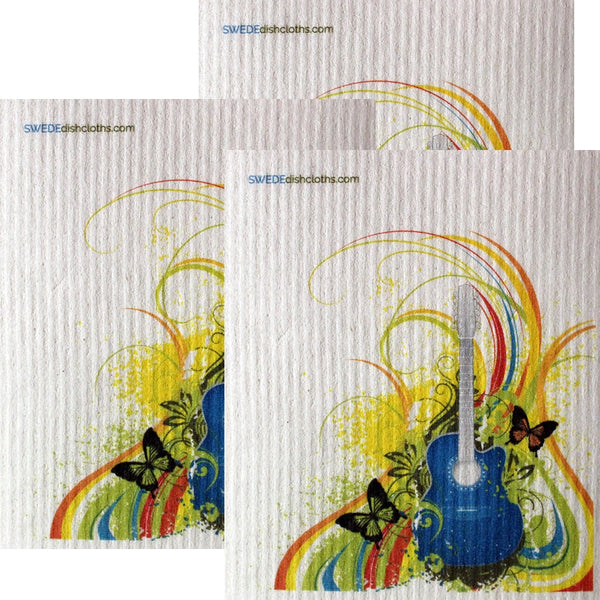 Rainbow Guitar Set Of 3 Each Swedish Dishcloths | Eco Friendly Absorbent Cleaning Cloth | Reusable Cleaning Wipes - 3