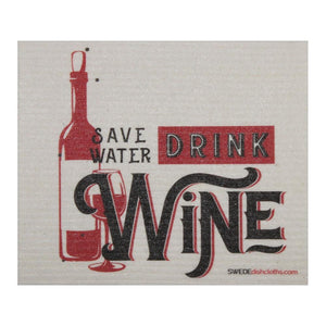 Save Water Drink Wine One Each Swedish Dishcloth | Eco Friendly Absorbent Cleaning Cloth | Reusable Cleaning Wipes - 1