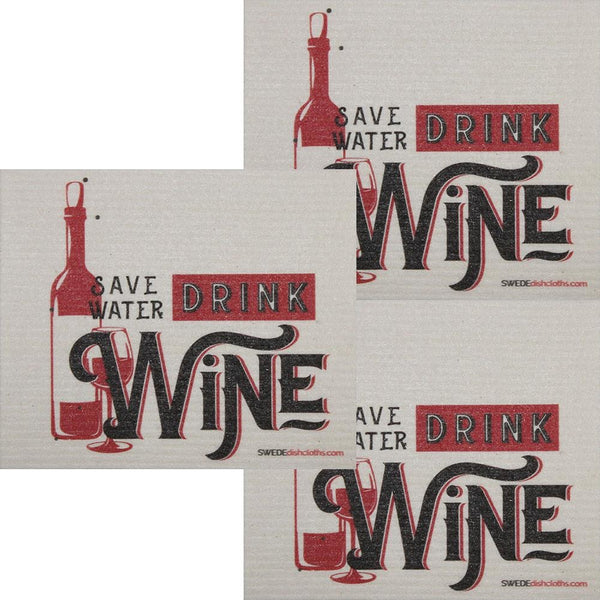 Save Water Drink Wine Set Of 3 Each Swedish Dishcloths | Eco Friendly Absorbent Cleaning Cloth | Reusable Cleaning Wipes - 3