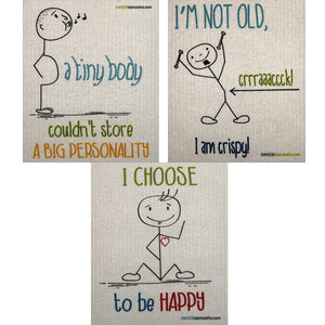 Stickman Sayings Set Of 3 Each Swedish Dishcloths | Eco Friendly Absorbent Cleaning Cloth | Reusable Cleaning Wipes - 3