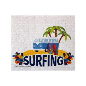 Surfing Bus One Each Swedish Dishcloth | Eco Friendly Absorbent Cleaning Cloth | Reusable Cleaning Wipes - 1