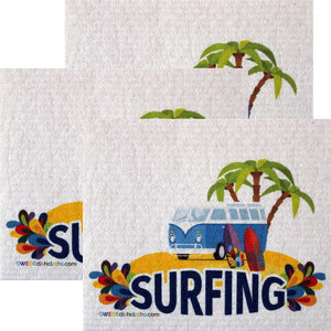 Surfing Bus Set of 3 each Swedish Dishcloths | ECO Friendly Absorbent Cleaning Cloth | Reusable Cleaning Wipes