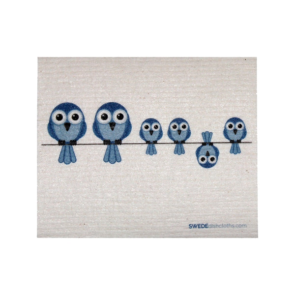 Swedish Dishcloth One Swedish Dishcloth Bluebirds On Wire Design - 1