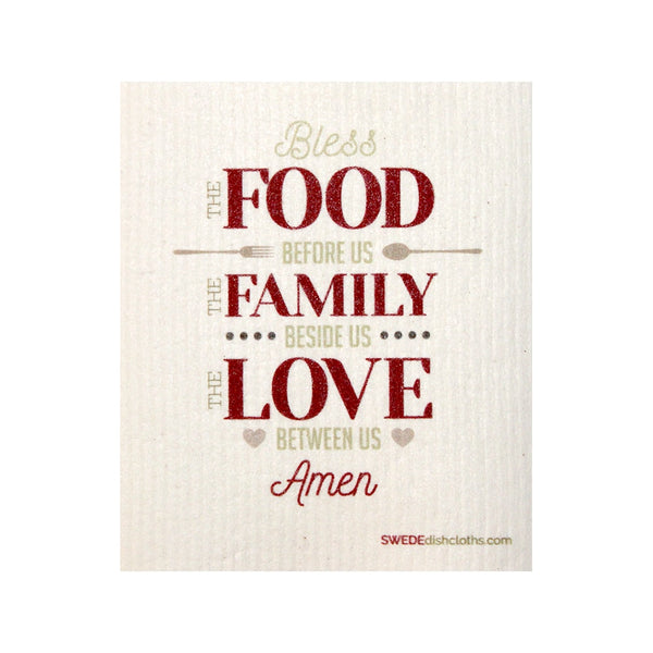 Swedish Dishcloth One Swedish Dishcloth Food-Family-Love Design - 1