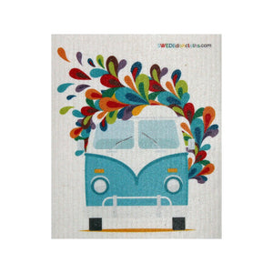 Swedish Dishcloth One Swedish Dishcloth Hippie Bus Design - 1