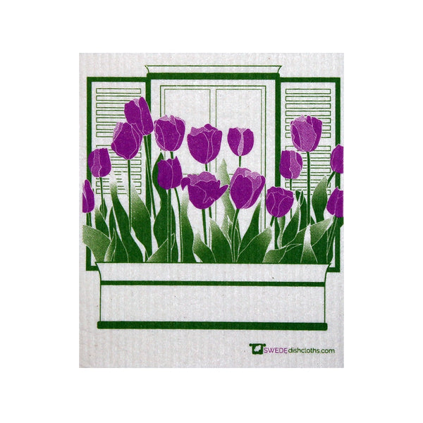 Swedish Dishcloth One Swedish Dishcloth With Purple Tulips Pattern - 1