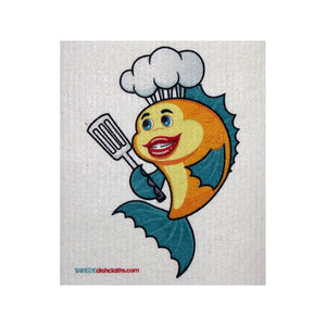 Swedish Dishcloth One Swedish Dishcloth Yellow Fish Chef Design - 1