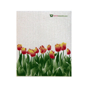 Swedish Dishcloth Orange Tulips - Single Cloth | Reusable - 1