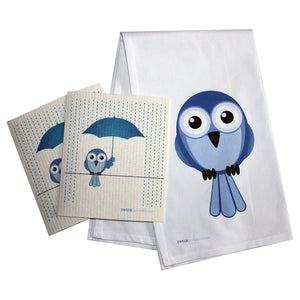 Swedish Dishcloth /plain Weave Kitchen Towel Set 2 Each Bluebird In Rain 17X30 100% Cotton - 99
