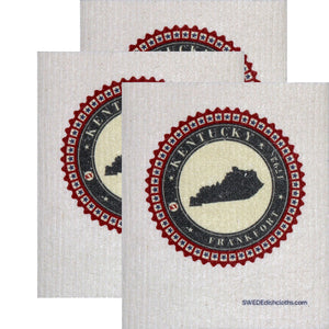 Swedish Dishcloth  Set of 3 each Swedish Dishcloth Badge Design - Kentucky