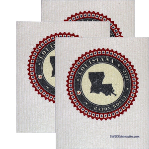 Swedish Dishcloth Set Of 3 Each Swedish Dishcloth Badge Design - Louisiana - 3